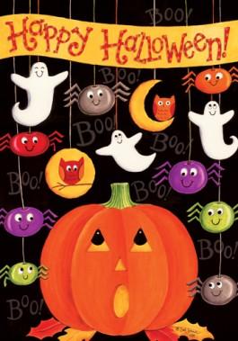 Large Flag, Happy Halloween-happy halloween, autumn, fall, pumpkins, large flag