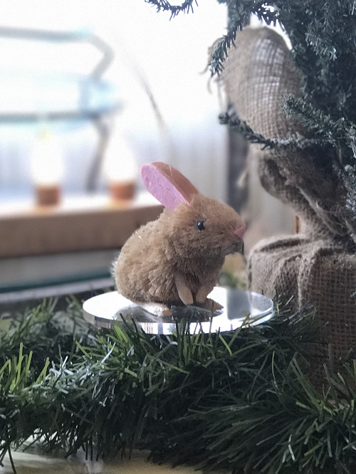 Rabbit Brush Animal Ornament-rabbit, bunny, brush animal