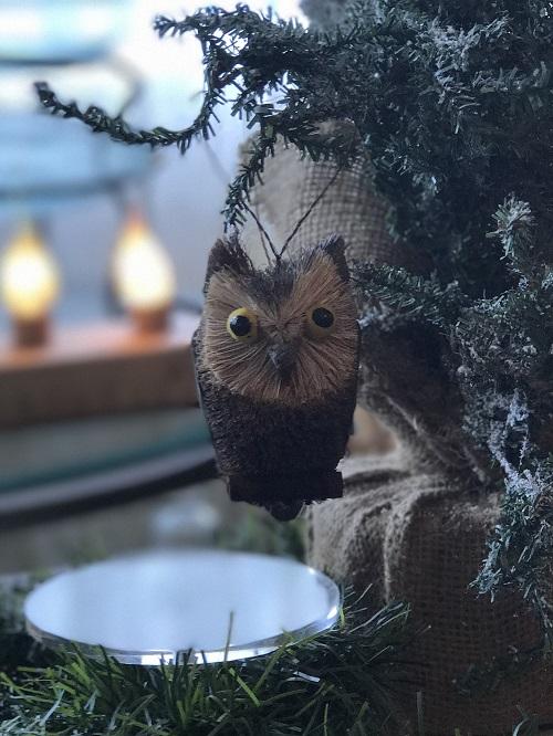 Long-Eared Owl Brush Animal Ornament-owl, brush animal