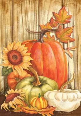 Large Flag, Pumpkins on Barnwood-large flag, outdoor flag, pumpkin, barnwood, autumn, fall, thanksgiving