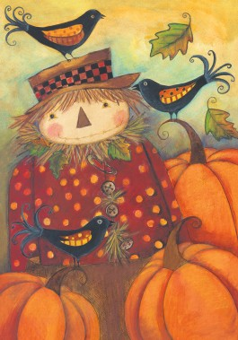 Large Flag, Scarecrow and Crows-large flag, outdoor flag, scarecrow, crows, autumn, fall, thanksgiving, halloween