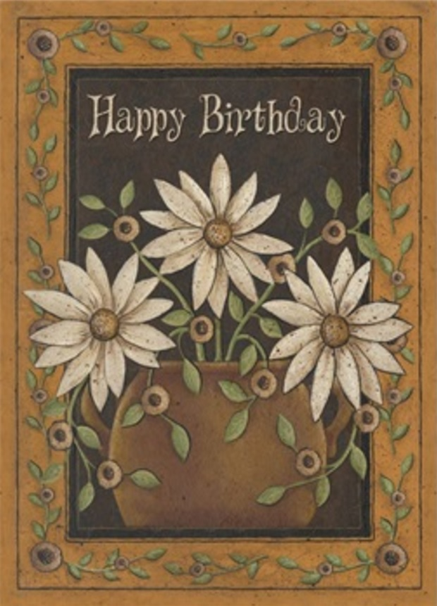 Birthday Card, Pot of Daisies-birthday, card, daisies