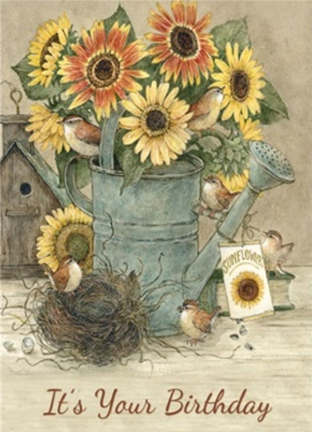Birthday Card, Sunflowers by Bird's Nest-birthday, card, sunflowers, bird nest