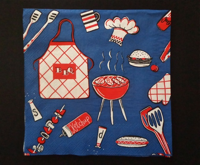 Luncheon Napkin, Blue Barbecue-napkins, party supplies, recycled paper products, recycled napkins