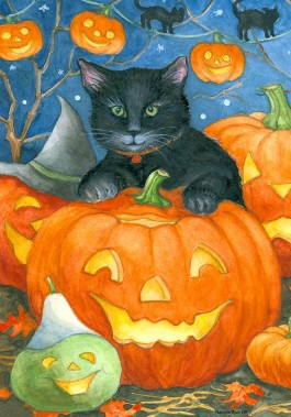 Mini Flag, Black Cat Pumpkin-mini flag, outdoor flag, black cat, pumpkin, autumn, fall, halloween