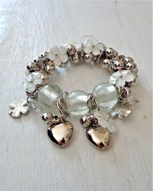 White and Silver Charm Bracelet-Bracelet, Jewelry, Charm Bracelet, Charms