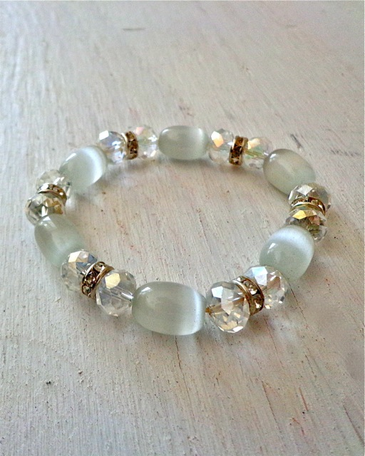 Glass and Rhinestone Beaded Bracelet - White and Silver-Bracelet, Jewelry
