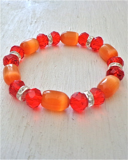 Glass and Rhinestone Beaded Bracelet - Red and Orange-Bracelet, Jewelry