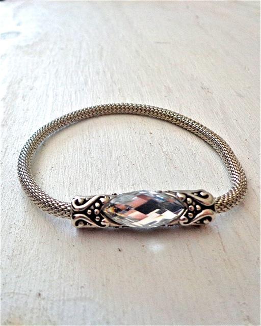 Clear Rhinestone Mesh Bracelet-Bracelet, Jewelry