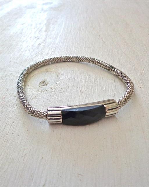 Black Rhinestone Mesh Bracelet-Bracelet, Jewelry