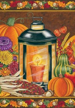 Mini Flag, Fall Lantern-fall, lantern, autumn, mini flag, outdoor flag, halloween, thanksgiving