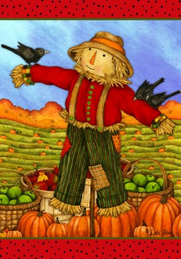 Mini Flag, Friendly Scarecrow-mini flag, outdoor flag, friendly scarecrow, scarecrow, autumn, fall, halloween, thanksgiving