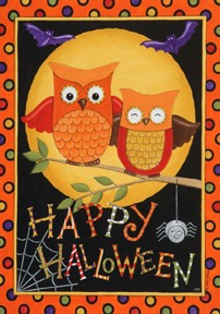 Mini Flag, Happy Owl-oween-mini flag, outdoor flag, happy halloween, owls, autumn, fall, halloween