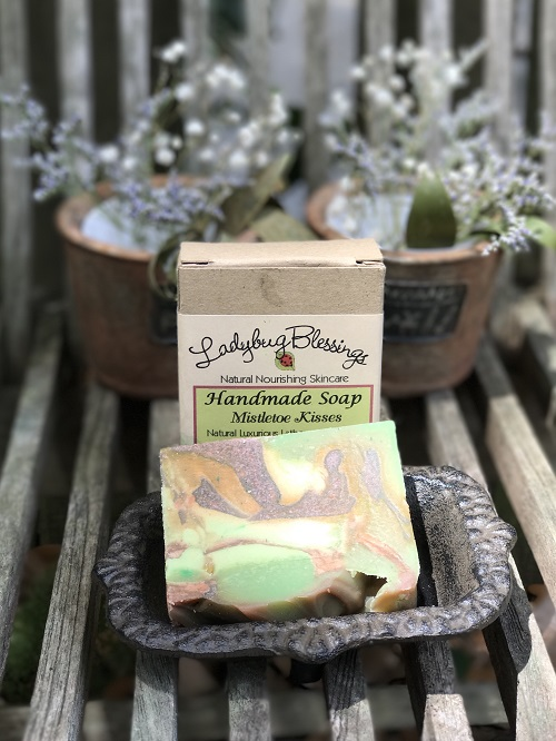 Handmade Soap - Mistletoe Kisses-mistletoe kisses, christmas, handmade, soap, ladybug blessings