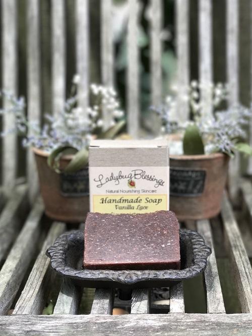 Handmade Soap - Vanilla Lace-vanilla lace, handmade, soap, ladybug blessings