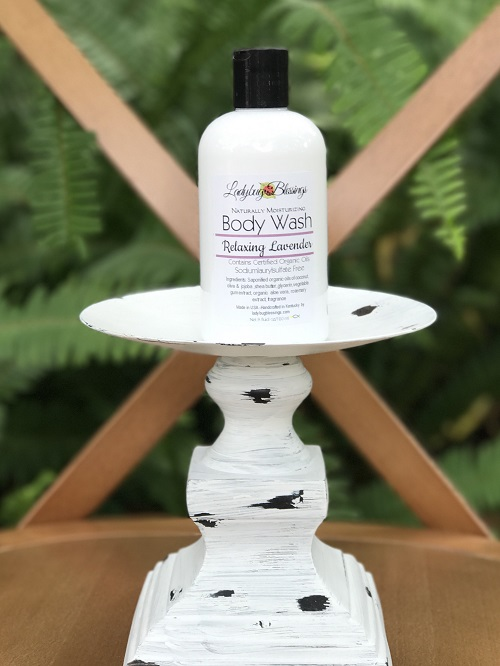Natural Body Wash - Relaxing Lavender 8 oz.-natural, body wash, relaxing lavender, ladybug blessings