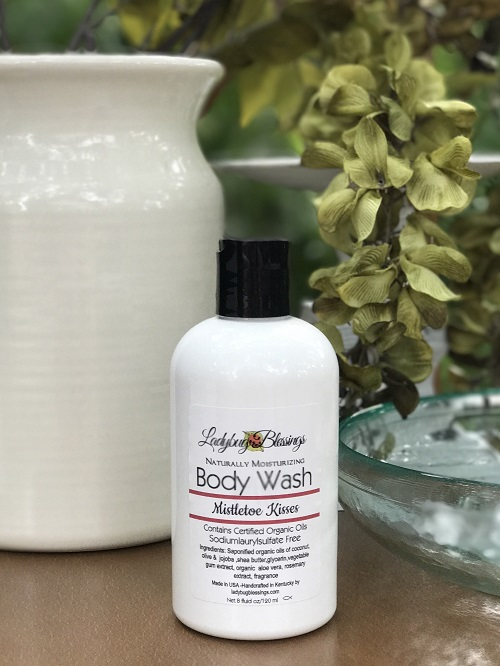 Natural Body Wash - Mistletoe Kisses 8 oz.-natural, body wash, christmas, mistletoe kisses
