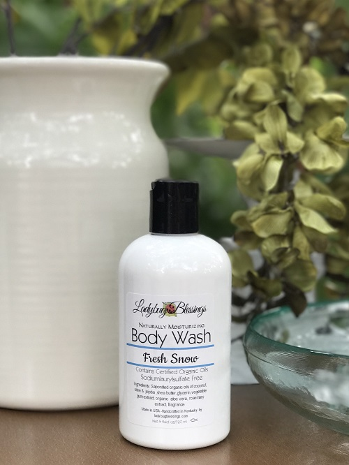 Natural Body Wash - Fresh Snow 8 oz.-natural, body wash, christmas, fresh snow, ladybug blessings