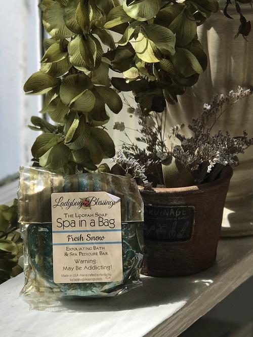 Handmade Loofah Soap - Fresh Snow-fresh, natural, loofah, spa, Ladybug Blessings