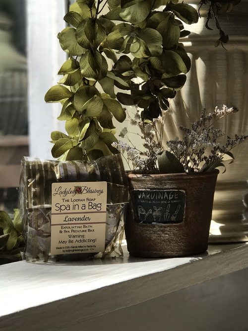 Handmade Loofah Soap - Relaxing Lavender-lavender, loofah, soap, spa, natural, Ladybug Blessings, loofah soap jacksonville