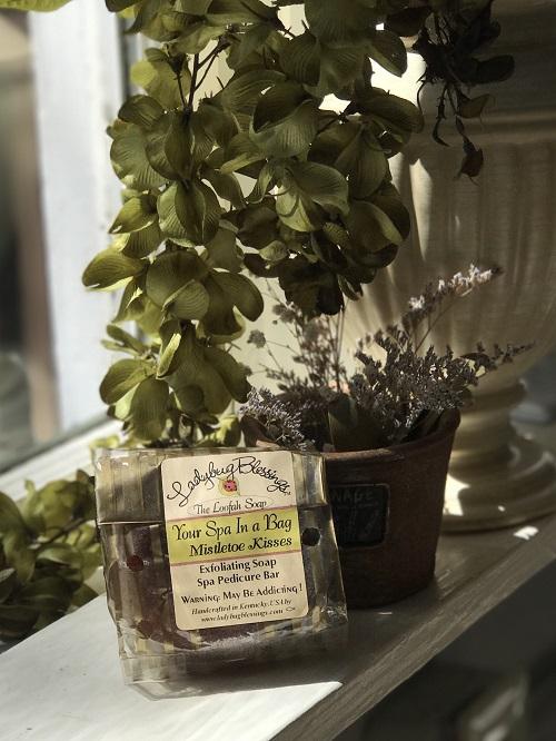 Handmade Loofah Soap - Mistletoe Kisses-handmade, loofah, soap, mistletoe kisses