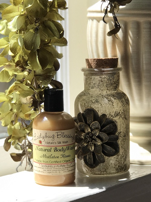 Natural Body Wash - Mistletoe Kisses, 4 oz.-natural body wash, mistletoe kisses