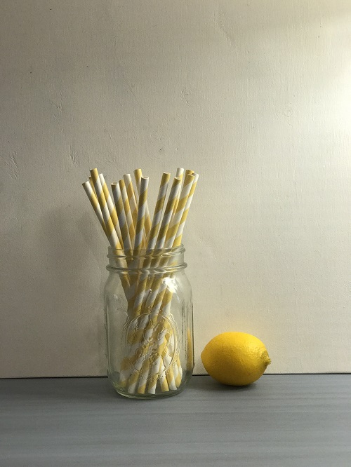 Yellow Striped Paper Straws-yellow, striped, paper straws