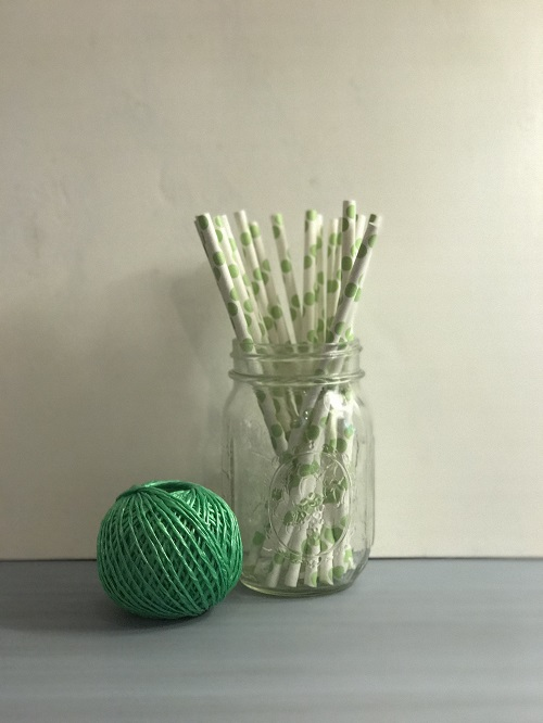 Lime Green Polka Dot Paper Straws-lime green, polka dot, paper straws