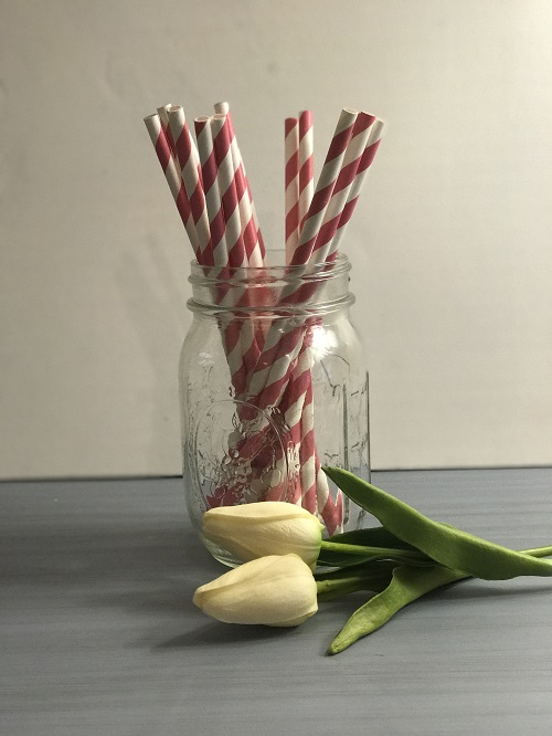 Bubblegum Pink Striped Paper Straws-paper straws, bubblegum pink, striped