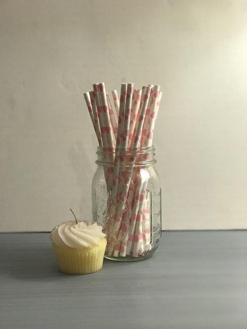 Bubblegum Pink Hearts Paper Straws-paper straws, pink, hearts