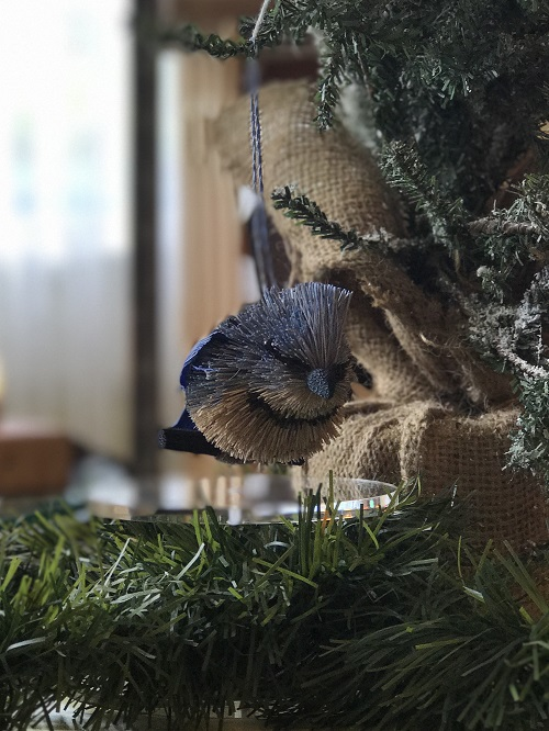 Blue Jay Brush Animal Ornament-blue jay, bird, brush animal