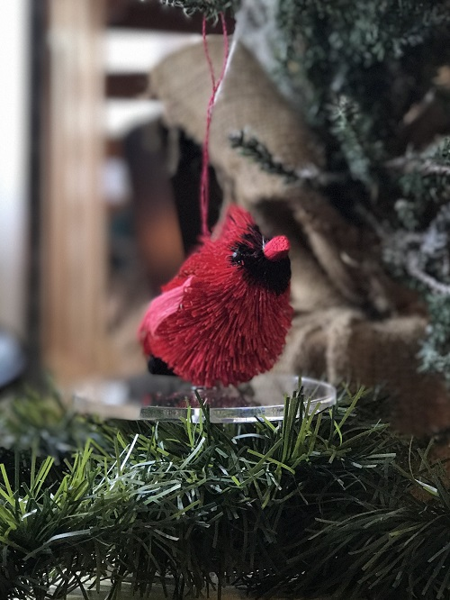 Cardinal Brush Animal Ornament-cardinal, brush animal
