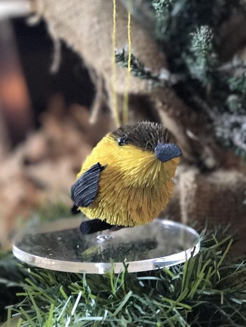 Yellow Finch Brush Animal Ornament-yellow finch, brush animal, bird