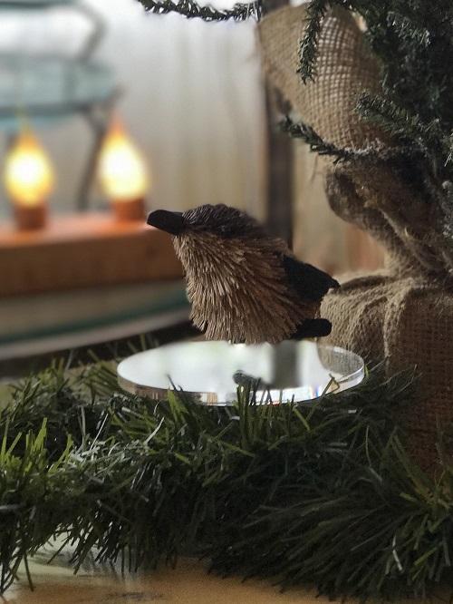 Chickadee Brush Animal Ornament-chickadee, bird, brush animal