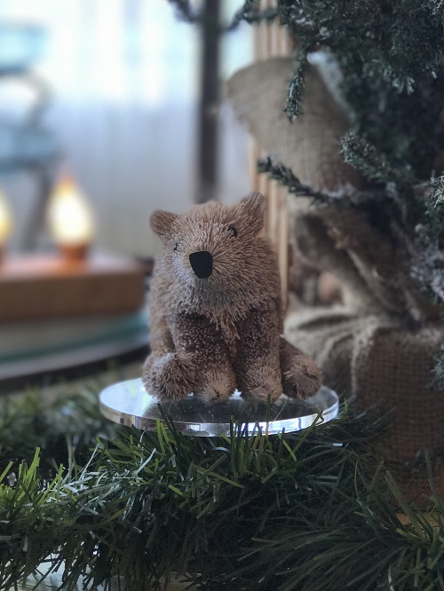 Sitting Bear Brush Animal Ornament-bear, brush animal