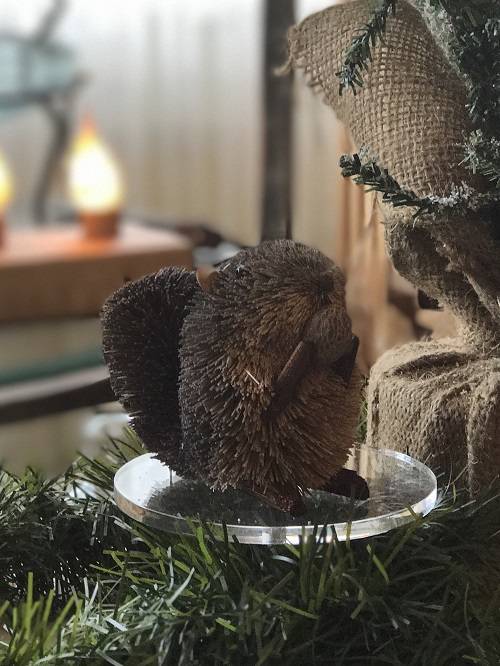 Gray Squirrel with Nut Brush Animal Ornament-squirrel, brush animal