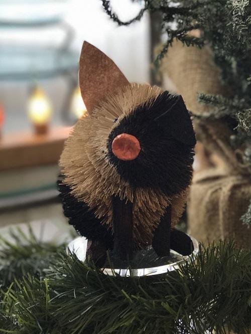Black and White Pig Brush Animal Ornament, Medium-pig, brush animal