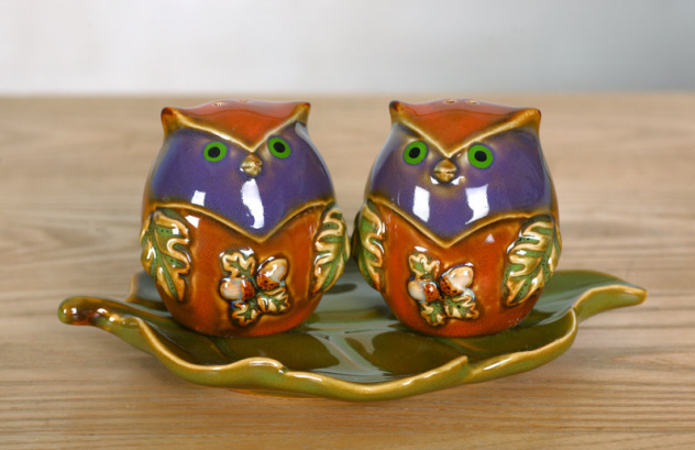 Ceramic Owl Salt & Pepper Shaker-ceramic, owl, salt, pepper, shaker