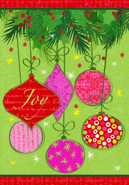Large Flag, Joy Ornaments-joy, ornaments, christmas, winter, large flat