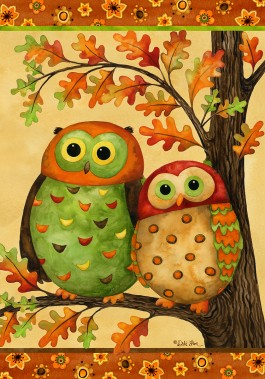 Large Flag, Autumn Owls-large flag, autumn, owls