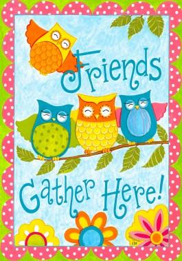 Mini Flag, Owl Friends-owl friends, mini flag, outdoor flag, owls, friends
