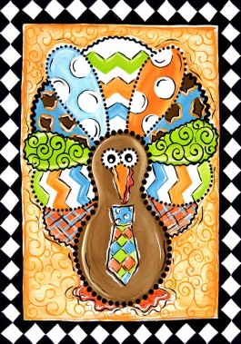 Large Flag, Patterned Turkey-large flag, outdoor flag, turkey, autumn, fall