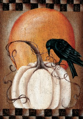Large Flag, Pumpkin Crow-large flag, outdoor flag, crow, pumpkin, autumn, fall, thanksgiving