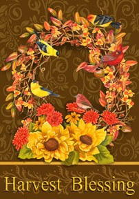 Large Flag, Songbird Wreath-large flag, outdoor flag, fall, autumn, thanksgiving, birds, wreath