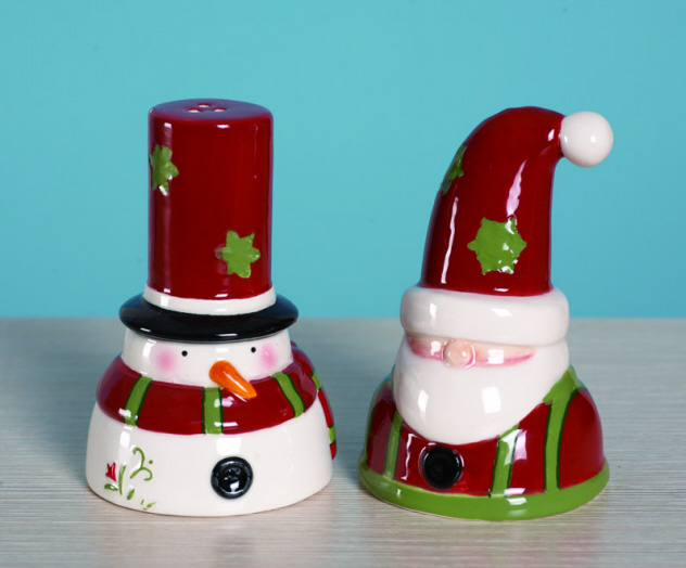 Ceramic Santa & Snowman Salt & Pepper Shaker-santa, snowman, salt, pepper, shakers