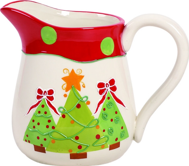 Ceramic Holiday Trees Pitcher-ceramic, pitcher, holidays