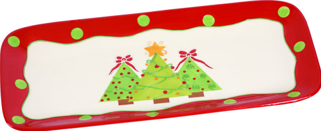 Ceramic Holiday Trees Platter-platter, holidays, ceramic