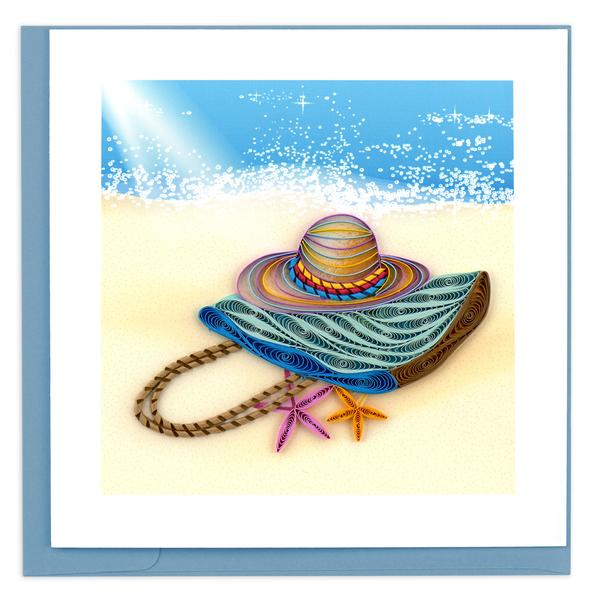 Quilling Card, Beach Bag and Hat-beach, greeting card, handmade, quilling card