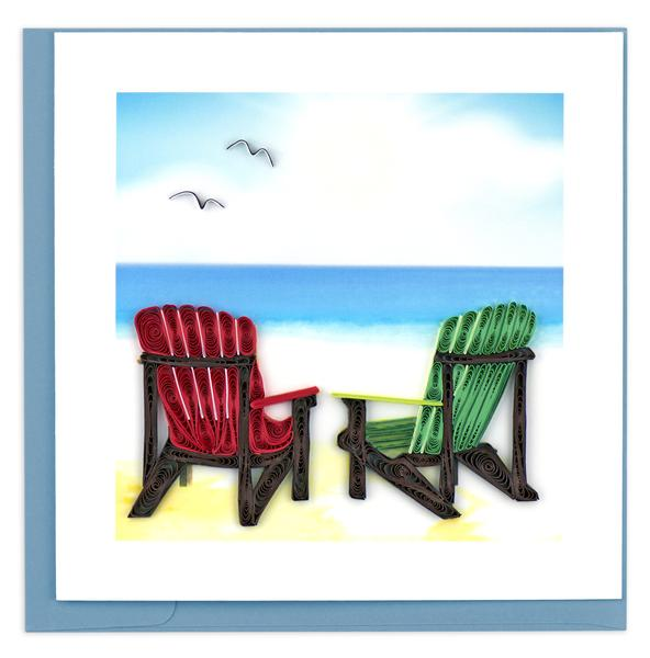 Quilling Card, Beach Chairs-greeting card, handmade card, quilling card, handcrafted card, beach