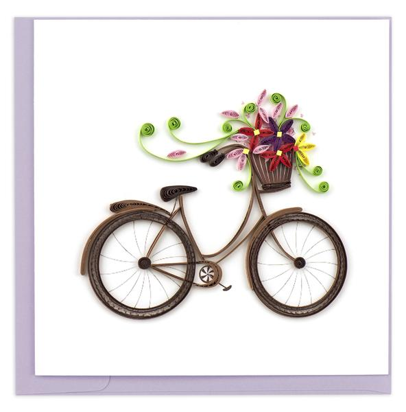 Quilling Card, Bicycle-greeting card, quilling card, handmade card, bicycle card.